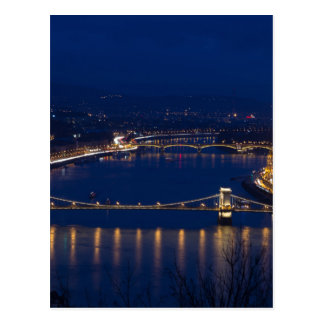 Chain bridge Hungary Budapest at night Postcard