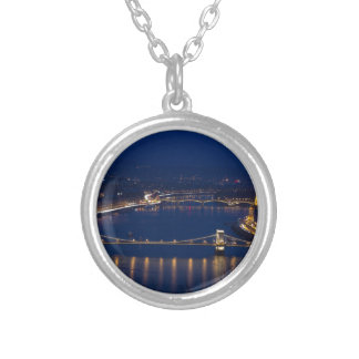 Chain bridge Hungary Budapest at night Silver Plated Necklace