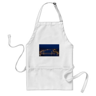 Chain bridge Hungary Budapest at night Standard Apron