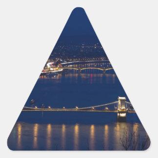 Chain bridge Hungary Budapest at night Triangle Sticker