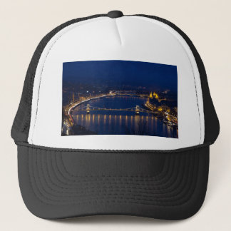 Chain bridge Hungary Budapest at night Trucker Hat