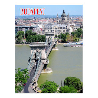 Chain Bridge over River Danube, Budapest, Hungary Postcard