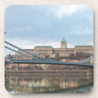 Chain Bridge with Buda Castle Hungary Budapest Drink Coaster