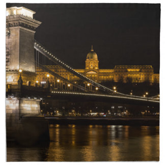 Chain Bridge with Buda Castle Hungary Budapest Napkin