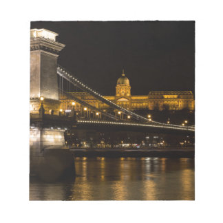 Chain Bridge with Buda Castle Hungary Budapest Notepad