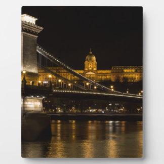 Chain Bridge with Buda Castle Hungary Budapest Plaque