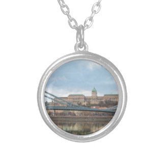 Chain Bridge with Buda Castle Hungary Budapest Silver Plated Necklace