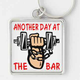 Chain & Dumbbell Another Day At The Bar Silver-Colored Square Keychain