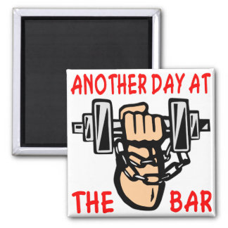 Chain & Dumbbell Another Day At The Bar Square Magnet