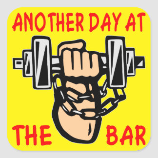 Chain & Dumbbell Another Day At The Bar Square Sticker