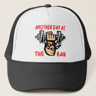 Chain & Dumbbell Another Day At The Bar Trucker Hat