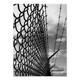 Chain Link Fence Art Photograph in Black & White Poster