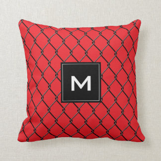 Chain Link Fence - Metal and Red Colored pillow