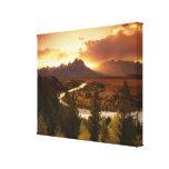 Chaîne de Teton au coucher du soleil, de la rivièr Impressions Sur Toile