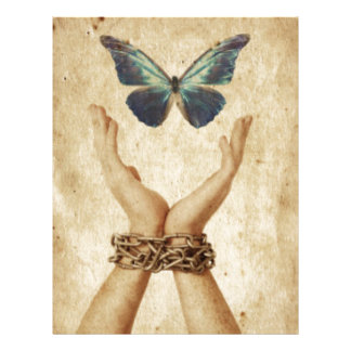 Chained Hand With Butterfly Hovering Above Letterhead