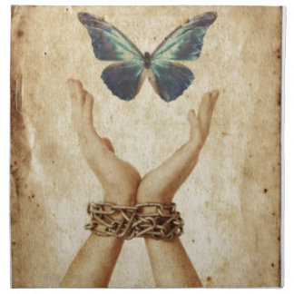 Chained Hand With Butterfly Hovering Above Napkin