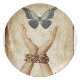 Chained Hand With Butterfly Hovering Above Plate