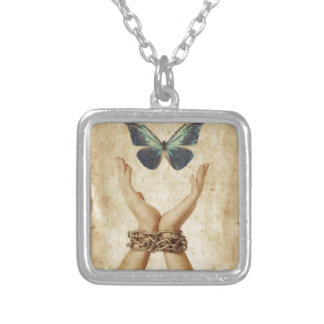 Chained Hand With Butterfly Hovering Above Silver Plated Necklace