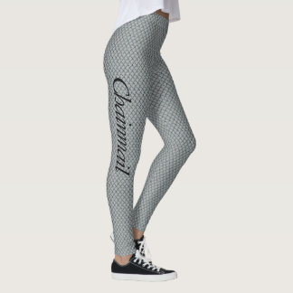 Chainmail Women's Gray Leggings Personalize Name