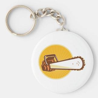 chainsaw front basic round button keychain