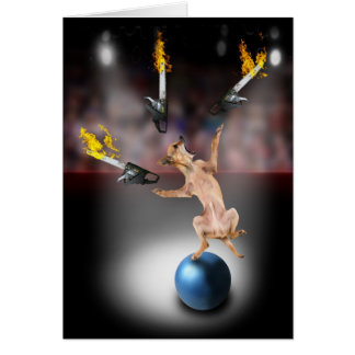 Chainsaw Juggling Chihuahua Card