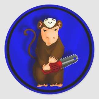Chainsaw Monkey Round Sticker