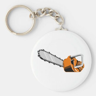 chainsaw retro style basic round button keychain