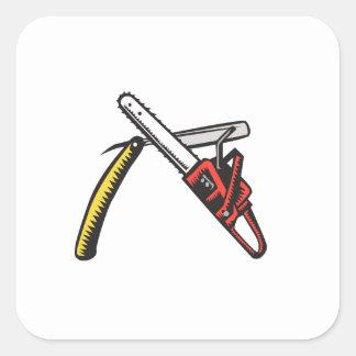 Chainsaw Straight Razor Crossed Woodcut Square Sticker