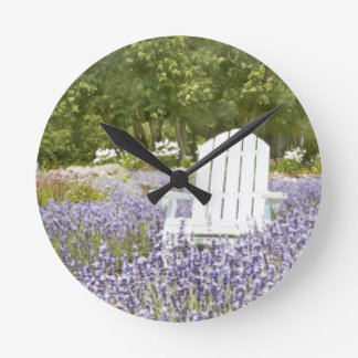 Chair in the Lavender field Round Clock