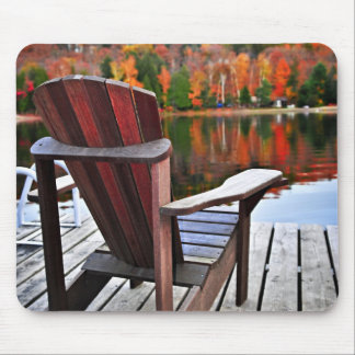 Chair on dock in fall mouse pad