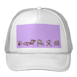 Chairs in a light lilac pink hats
