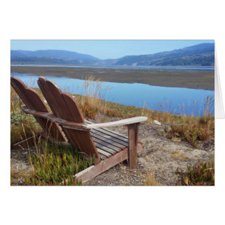 Chairs looking out to Bolinas Lagoon blank card