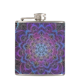 Chakra Blossom, boho, new age, spiritual Hip Flask
