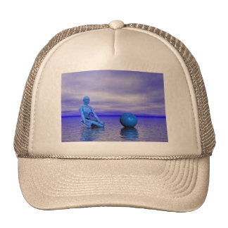 chakra blue and landscape trucker hat