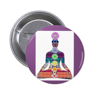 CHAKRA diagram Yoga Meditation Peace NVN630 FUN 2 Inch Round Button