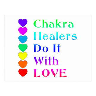 Chakra Healers Do It With Love in Rainbow Colors Postcard