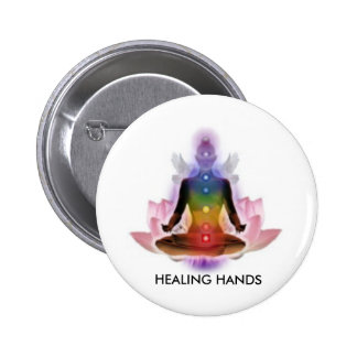 CHAKRA LOTUS PERSON, HEALING HANDS 2 INCH ROUND BUTTON