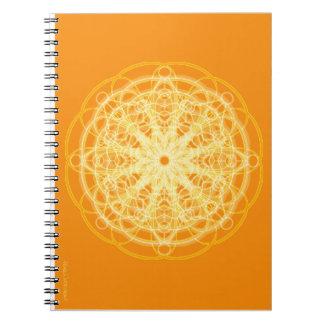 Chakra Mandala Sacred Geometry Bright Orange Notebook