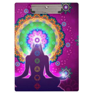 Chakra Meditation Floral Pattern Design Clipboard