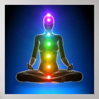 chakra, sept chakras, système énergétique, symbole poster
