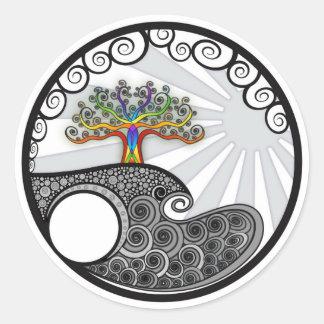 Chakra Tree Classic Round Sticker