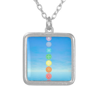 Chakras - 3D render Silver Plated Necklace