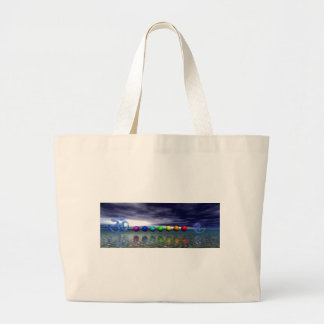 chakras and aum blue large tote bag