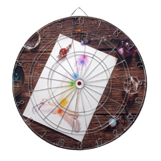 chakras and balance dartboard with darts