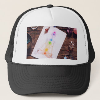 chakras and balance trucker hat