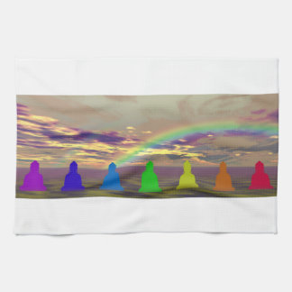 chakras and colors and sky puple yellow kitchen towels
