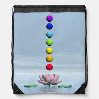 Chakras and rainbow - 3D render Drawstring Bag