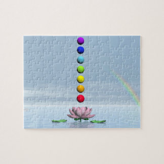 Chakras and rainbow - 3D render Jigsaw Puzzle