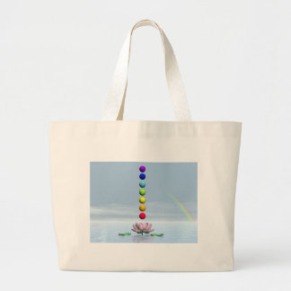 Chakras and rainbow - 3D render Large Tote Bag