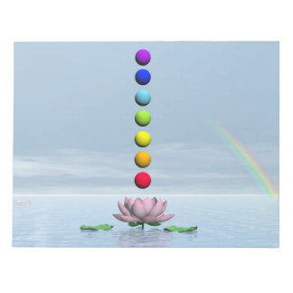 Chakras and rainbow - 3D render Notepad